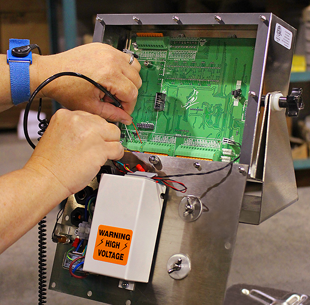 The wiring of the electronics is a delicate, thorough procedure performed in the company's factory in Webb City, MO. Cardinal/Detecto electronics employees meticulously construct and test wiring between the weighing platforms and indicators. This extra attention delivers the highest quality results for Cardinal/Detecto's portable, bench, and overhead track scales.