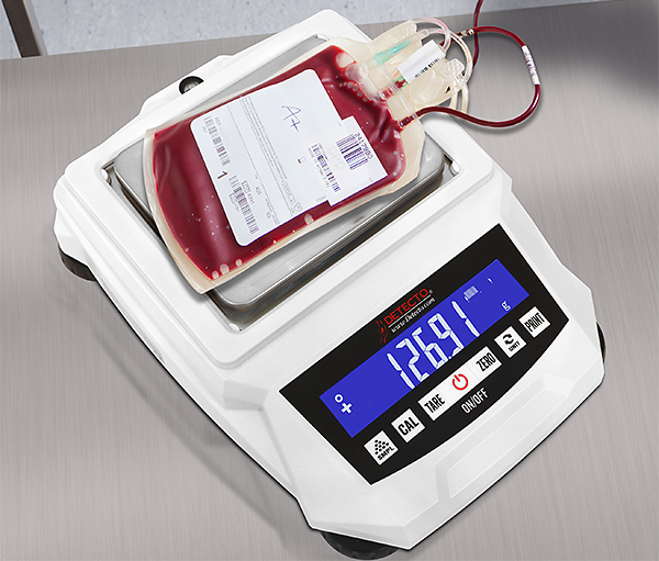 Scales such as DETECTO's 420 series can be used for weighing blood bags during therapeutic phlebotomy.
